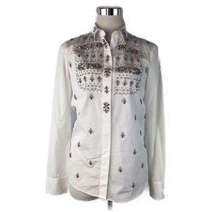 J. Crew Thomas Mason White Oxford Jeweled Shirt